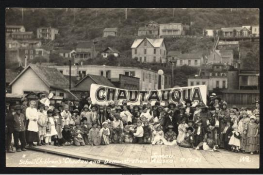 """School Children's 'Chautauqua' Demonstration"" in Juneau, Sept. 21, 1921."